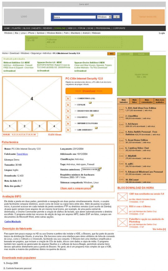 Wireframe da página de download